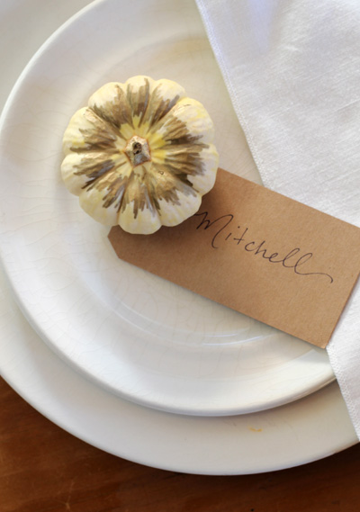 Gold Pen, White Pumpkin Place Card | PepperDesignBlog.com