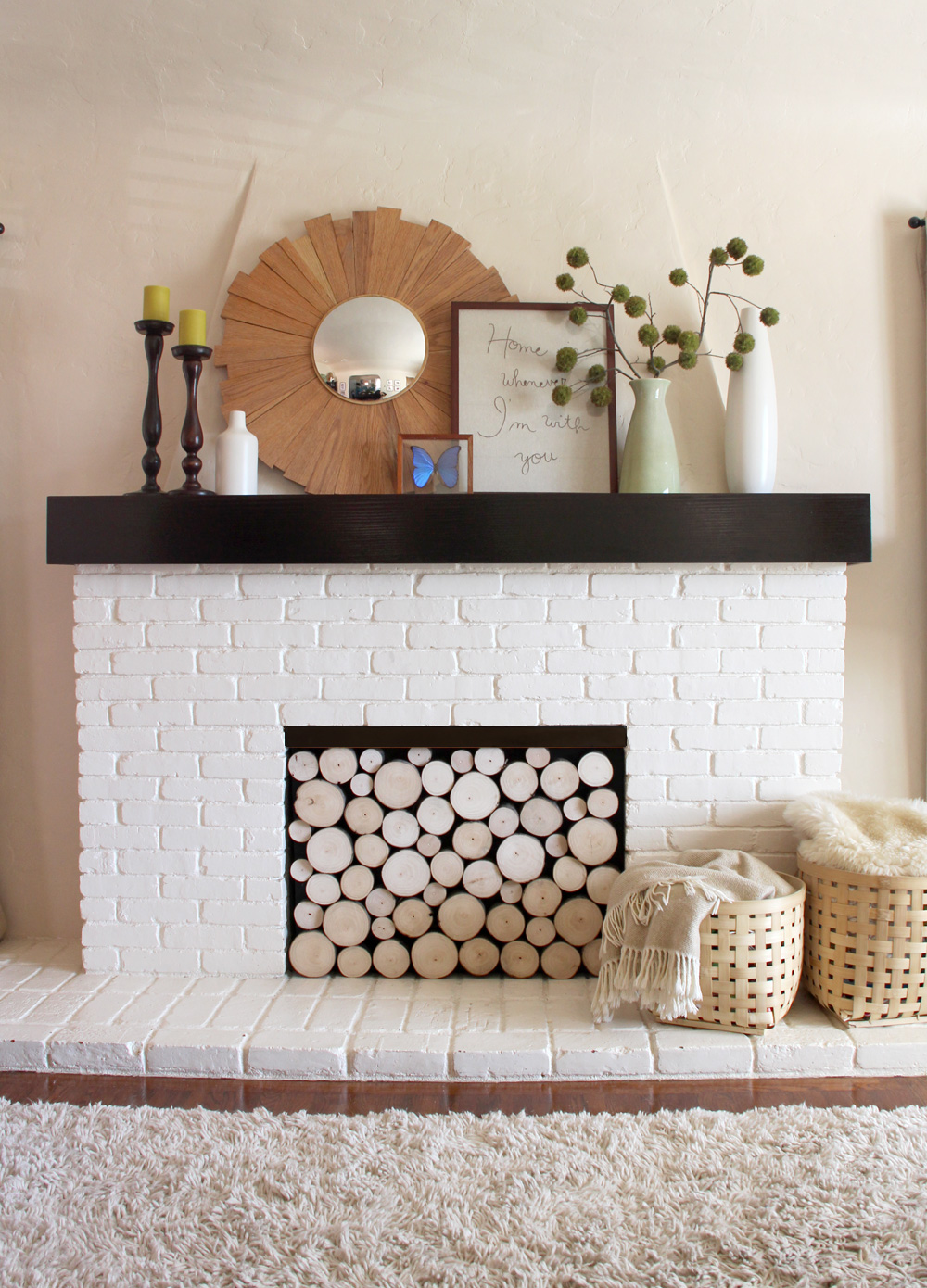 wood fireplace screens.  looks kind of nice Pinterest Challenge Faux Stacked Log Fireplace Facade Pepper