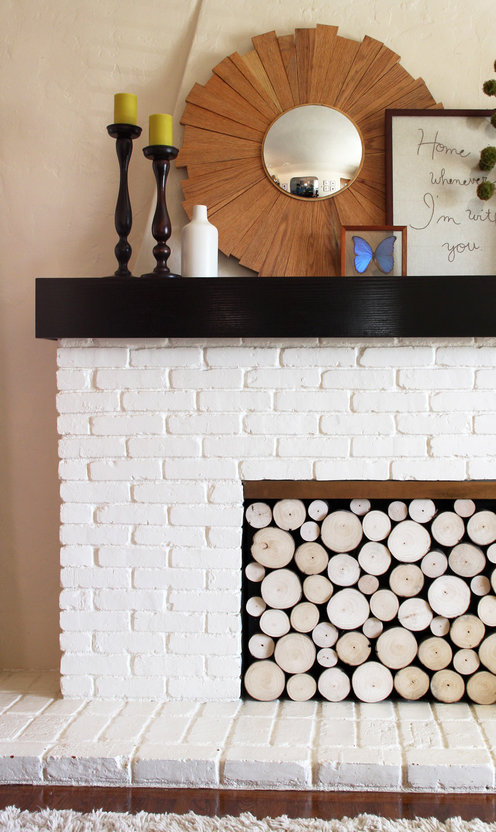pinterest challenge faux stacked log fireplace facade pepper