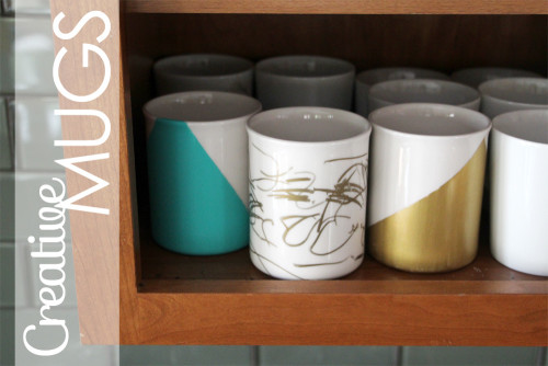 DIY Gold & Teal Hand Painted & Sharpie Mugs | PepperDesignBlog.com