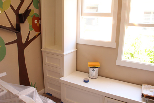 New Nursery Built-In Bookshelves | Painting & Caulking | PepperDesignBlog.com