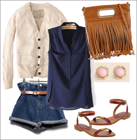 Super High Jean Shorts + Sleeveless Blue Blouse + Fringe Clutch | Summer Style Board | PepperDesignBlog.com