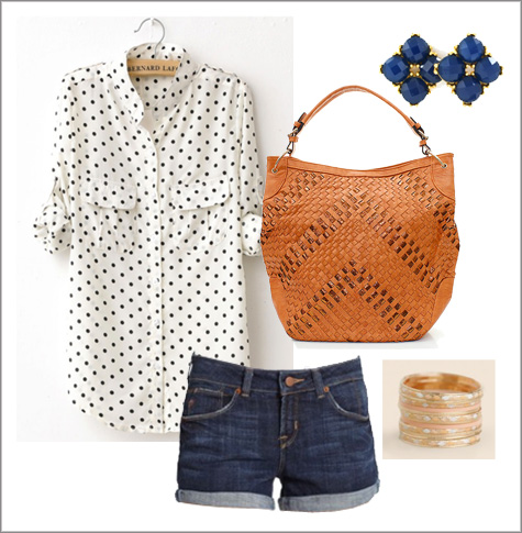 Polka Dot Rolled Sleeve + Jean Shorts | Summer Style Board | PepperDesignBlog.com