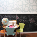 Hallway Art Table, Chalkboard Wall & Painter's Tape Wallpaper | PepperDesignBlog.com