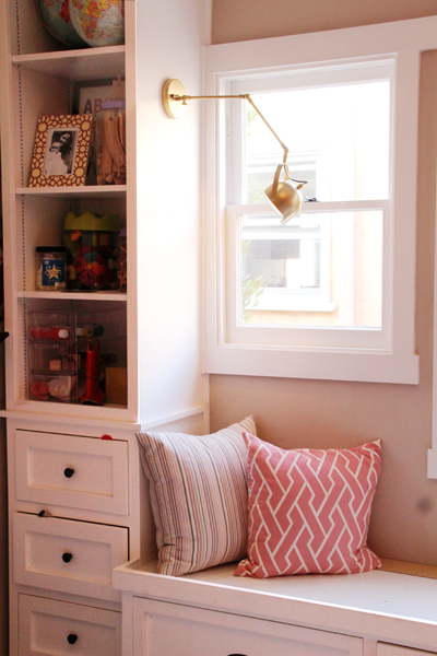 New Nursery Bookshelf Lighting | Swing Arm Wall Sconce | PepperDesignBlog.com