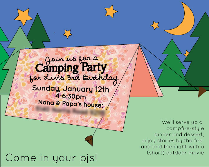 Liv's 3rd Camping Birthday Invitation | PepperDesignBlog.com