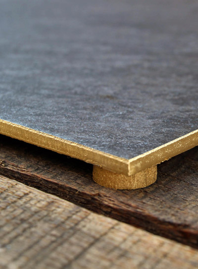 DIY $8 Gold Rimmed Slate Tile Cheese Board | PepperDesignBlog.com