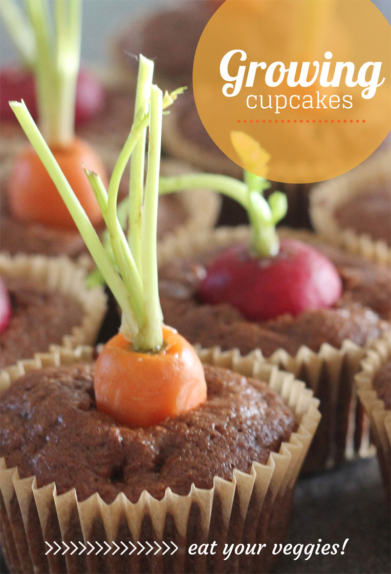 Spring Veggie Growing Cupcakes | PepperDesignBlog.com