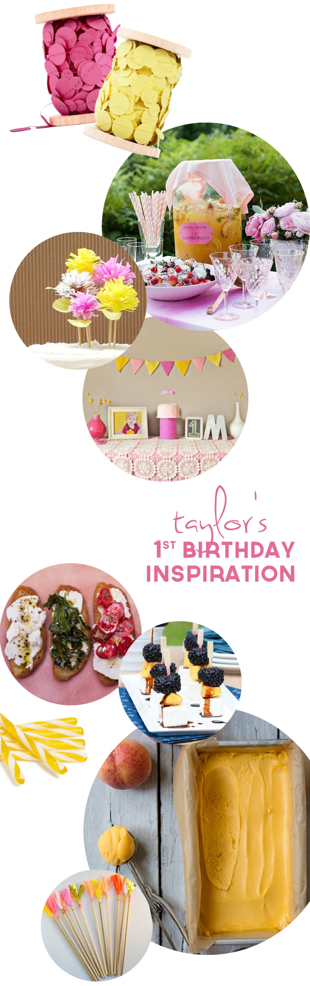 Taylor's 1st Birthday Party Inspiration | Yellow & Pink | PepperDesignBlog.com