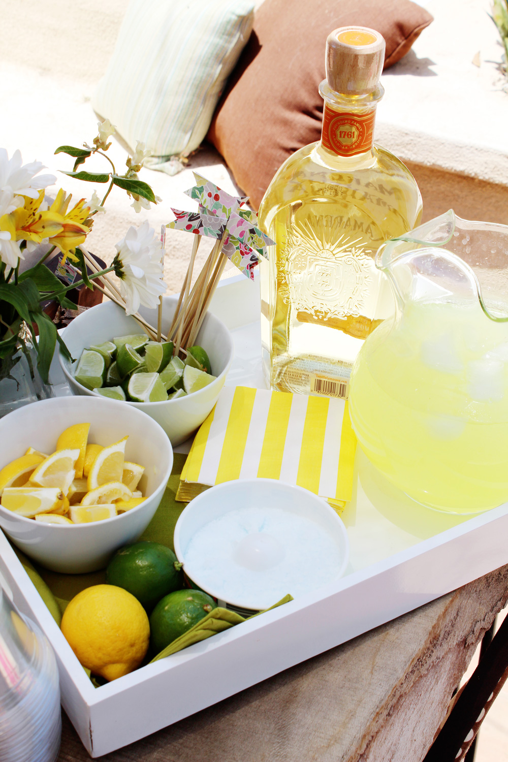 Taylor's First Birthday | Build Your Own Margarita Bar Tray, Paper Flags | PepperDesignBlog.com