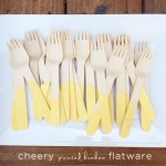 Cheery Painted Bamboo Forks | PepperDesignBlog.com