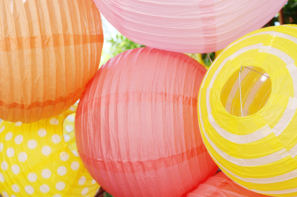 Taylor's First Birthday | Watermelon, Pink, Yellow Paper Lanterns | PepperDesignBlog.com
