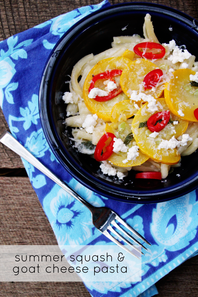 Good Eats: Summer Squash & Goat Cheese Pasta | PepperDesignBlog.com