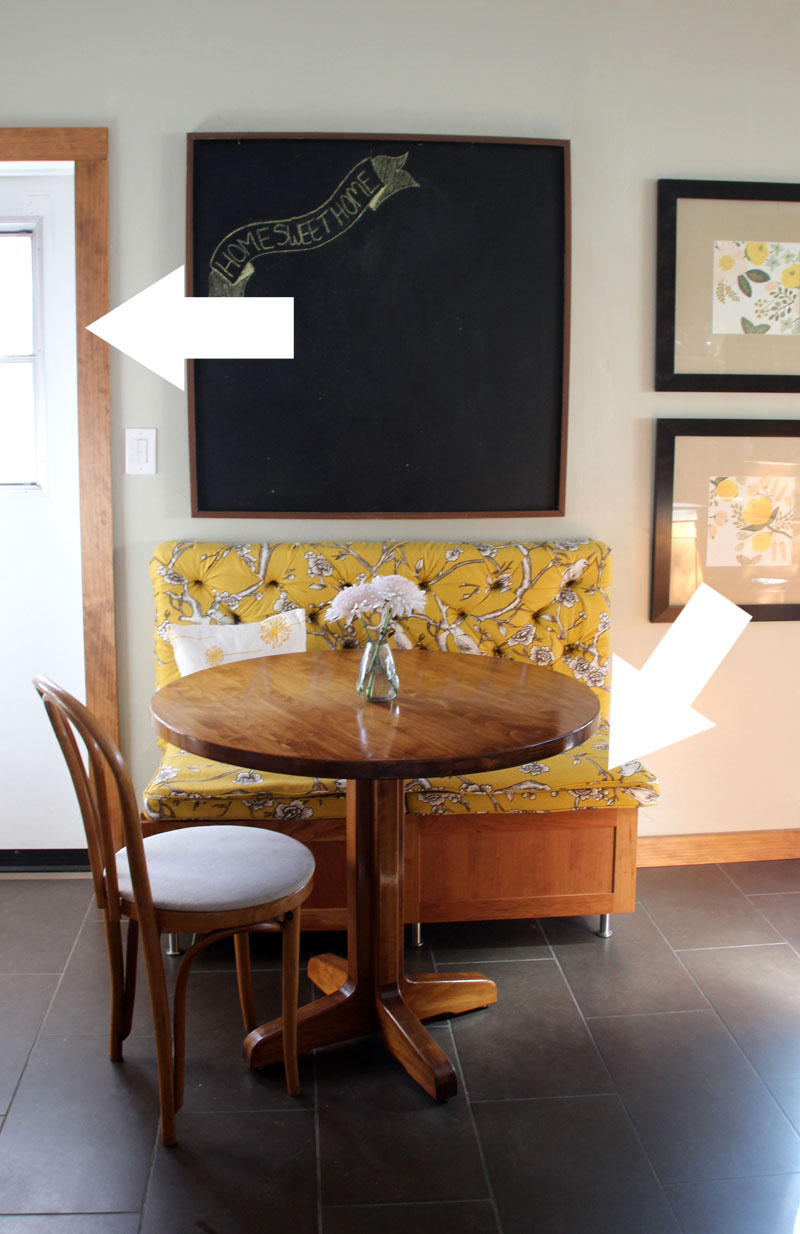 Kitchen Breakfast Table | Tufted Bench, Giant Chalkboard | PepperDesignBlog.com