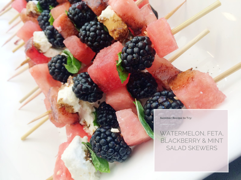 Watermelon, Blackberry, Mint & Feta Salad Skewer (served with a balsamic reduction!) | PepperDesignBlog.com