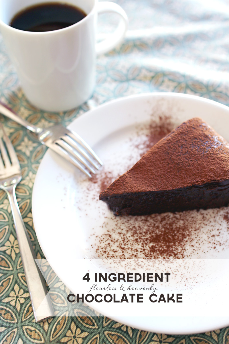 4 Ingredient Flourless & Gooey (& Gluten Free) Chocolate Cake | PepperDesignBlog.com