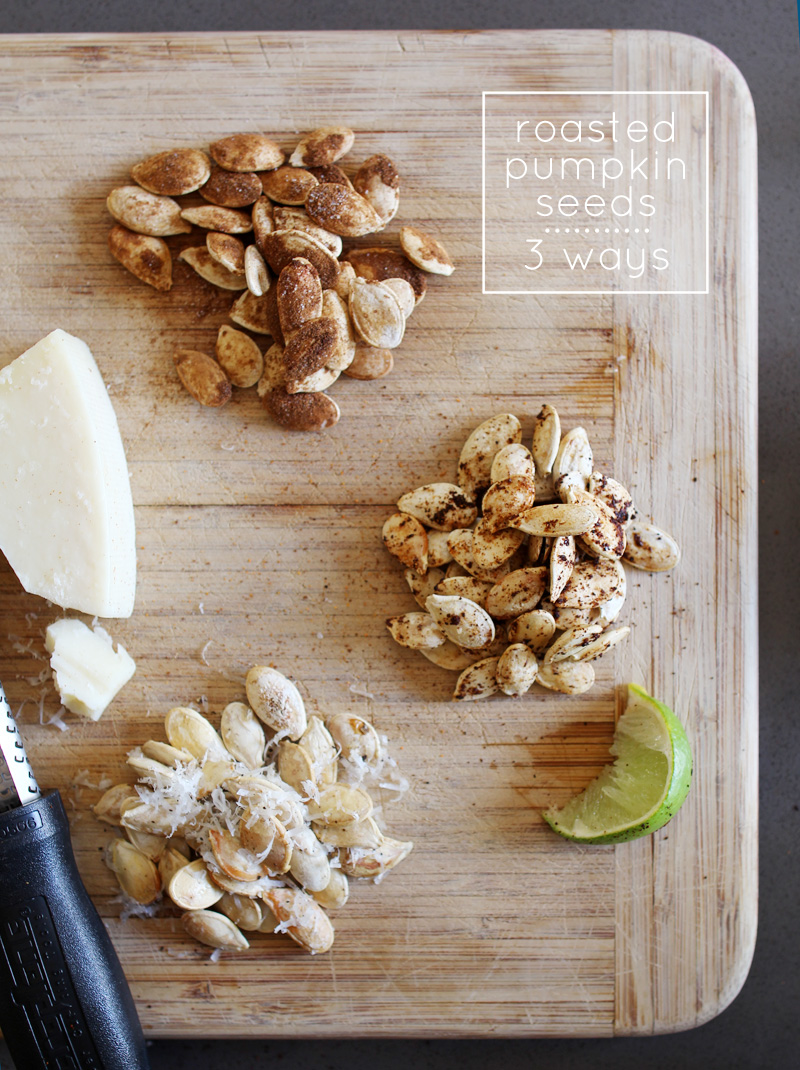 Roasted Pumpkin Seeds - 3 Ways | Cinnamon & Sugar, Chili & Lime, Parmesan & Cracked Pepper | PepperDesignBlog.com
