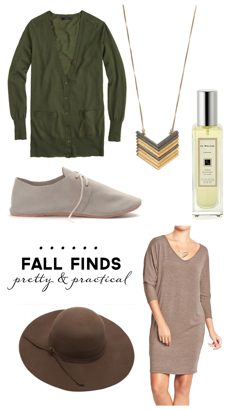 Wardrobe Style Board: Fall Finds | Transitioning Seasons | Suede Oxfords, Gold Necklaces, Felt Hats, Hunter Green Cardigans | PepperDesignBlog.com