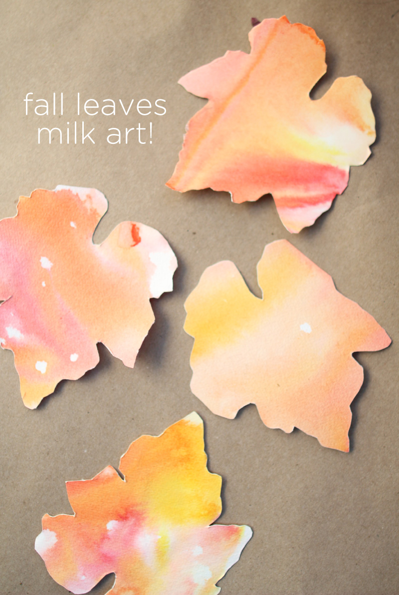 Kid's Thanksgiving Project Idea: Fall Leaves Milk Art & Place Cards | PepperDesignBlog.com