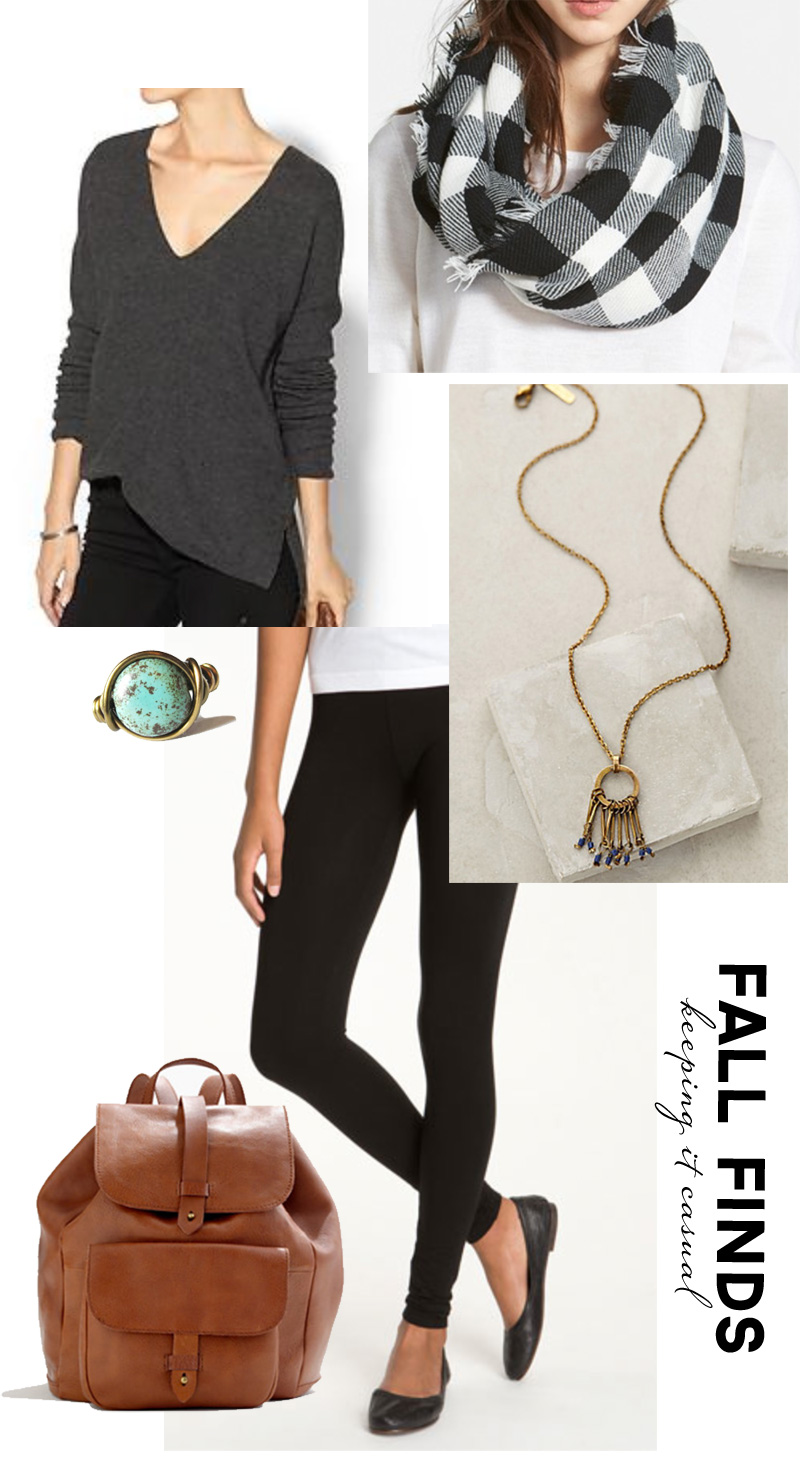 Wardrobe Style Board: Fall Finds | Dolman Sweater, Black Cotton Leggings, Black & White Plaid Scarf, Ballet Flats, Cognac Leather Backpack, Gold Statement Necklace, Turquoise Ring | PepperDesignBlog.com