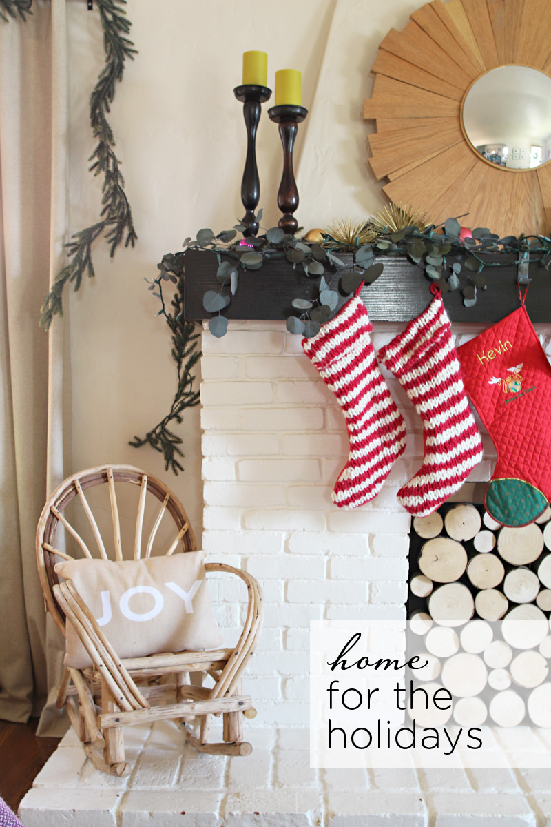 Our Home for the Holidays | Christmas 2014 | Striped Red & White Knitted Stockings | PepperDesignBlog.com