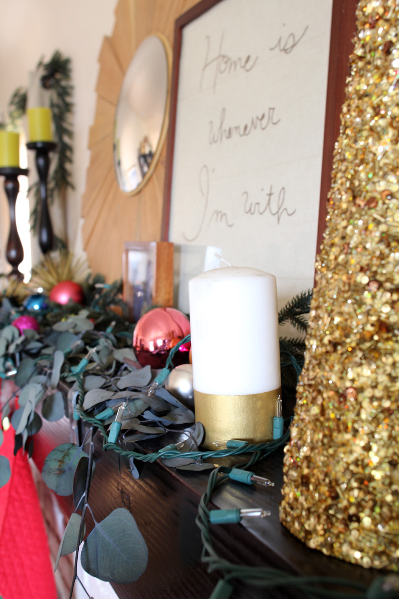 Our Home for the Holidays | Christmas 2014 | Pink, Gold & Eucalyptus Mantel | PepperDesignBlog.com