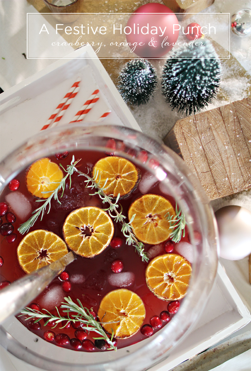 Holiday Punch | Christmas Cranberry, Orange & Lavender Cocktail Mocktail | PepperDesignBlog.com