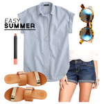 Wardrobe Style Board: Easy Summer | Striped Popover Shirt, Denim Rolled Shorts, Brown & Gold Vince Camuto Sandals, Coral Lipstick | PepperDesignBlog.com