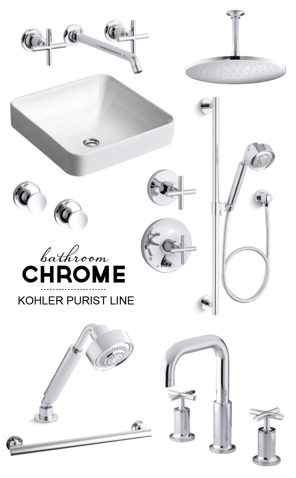 Master Bathroom Inspiration Board: Chrome | Purist by Kohler | PepperDesignBlog.com