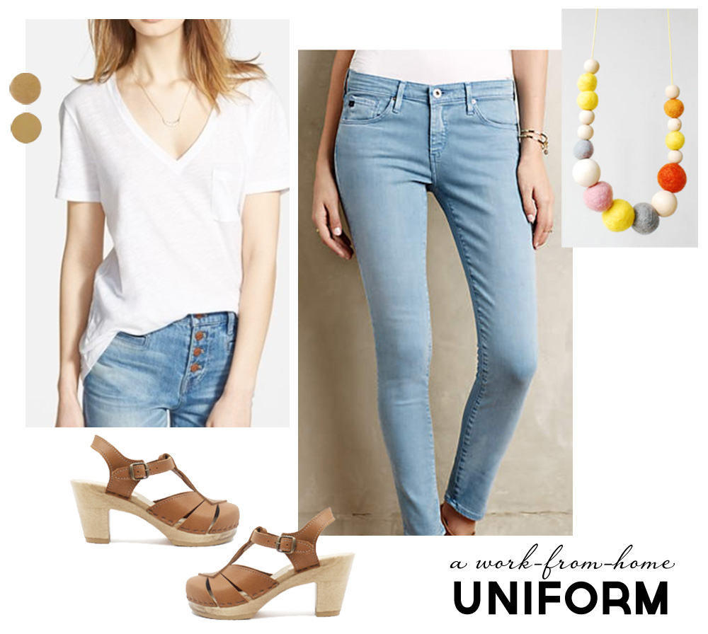 Wardrobe Style Board: A Stay-At-Home Mom Uniform | Cropped Light Jeans, Tan Sven Clogs, White Madewell V-Neck T-Shirt, Colorful Necklace, Gold Earrings | PepperDesignBlog.com