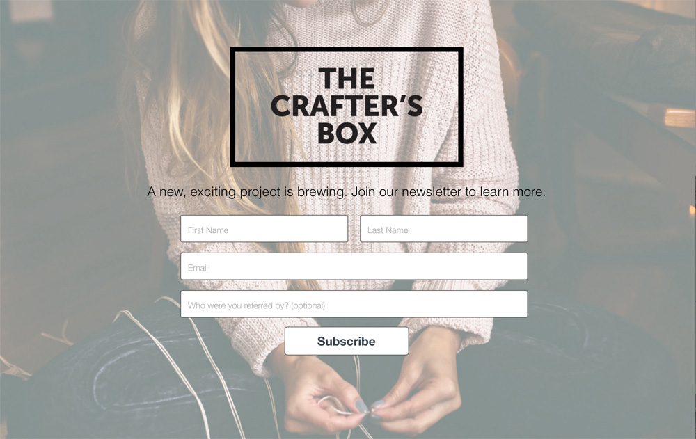 The Crafter's Box Newsletter Sign Up Page