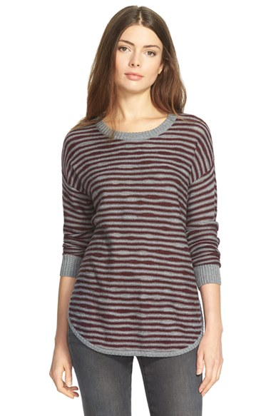 Sweater Weather, 2015 - asymmetrical grey maroon stripe